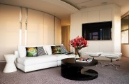 Having Good Day In Beautiful Apartment Interior Designs : Modern White Sofa Furniture In Apartment Interior Designs Modern