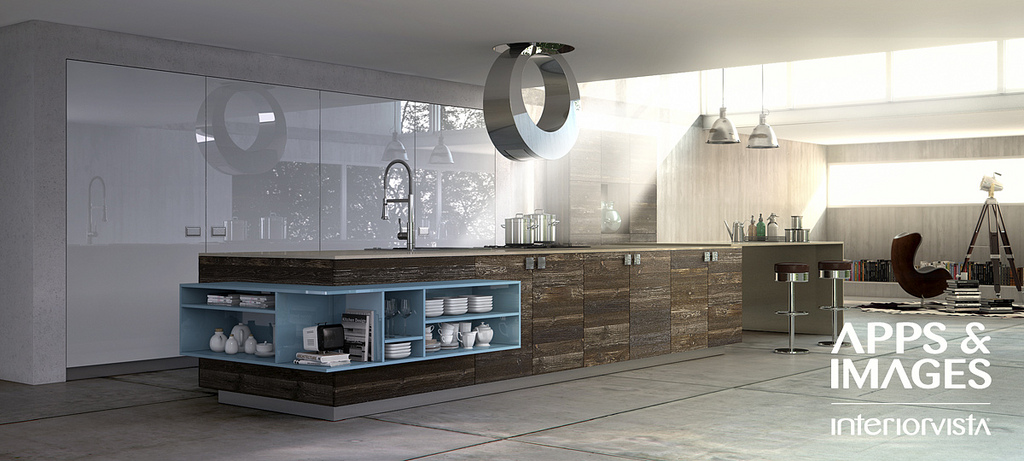 New Era Kitchen For Modern Home : Modern Wood Blue White Kitchen