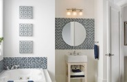 Inspirational Bathroom Designs Ideas Bring Out Natural And Cool Touch : Mosaic Tile Bathroom Backsplash White Interior Bathroom Designs Ideas