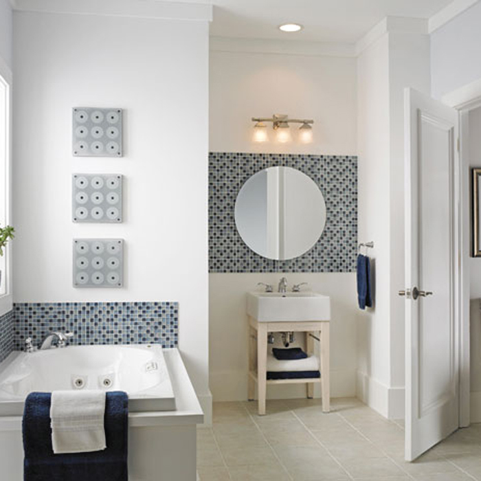 Inspirational Bathroom Designs Ideas Bring Out Natural And Cool Touch: Mosaic Tile Bathroom Backsplash White Interior Bathroom Designs Ideas