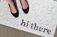 Amazing DIY Welcome Mats: Saying Hi Warmly : Mosaic Tile Welcome Mat With Black Words