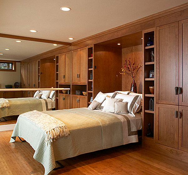 Contemporary Hideaway Beds For Stylish Lifestyle: Murphy Bed In A Wooden Room ~ stevenwardhair.com Bedroom Design Inspiration