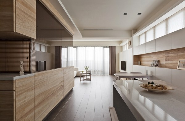 Amazing Interior Design With Soothing Ambience: Natural Taiwanese Interior Design Sleek Kitchen Design Wooden Floor