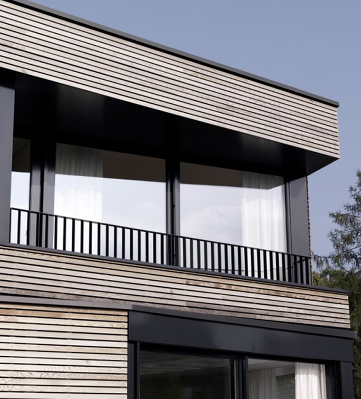 Smart Wooden House For Environment Friendly Living Place: Natural Wooden Exterior Design With Lined Wood