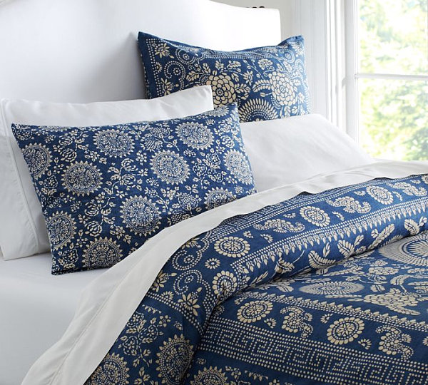 Striking Floral Patterns (12 Ideas) : Navy Floral Duvet Cover And Sham