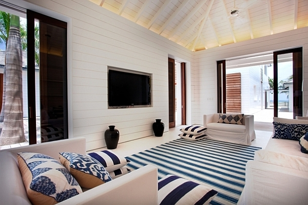 Extravagant Caribbean Villa Which Full Of Refreshment : Navy Inspired Living Room