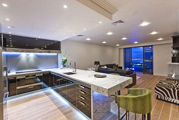 Chic Neon Lighting In Kitchen: 12 Images : Neon Lighting Under Cabinets In A Contemporary Kitchen