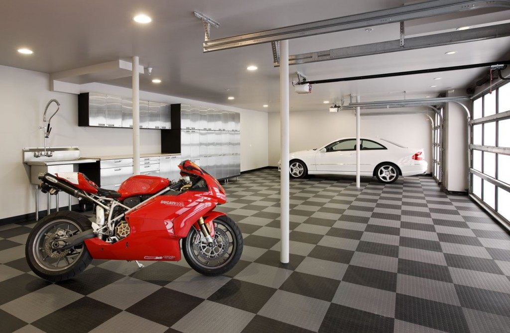 Best Garage Colors Design For Rustic Home Living : Neutral Garage Colors Design Red Sport Motorcycle Ceiling Lamp