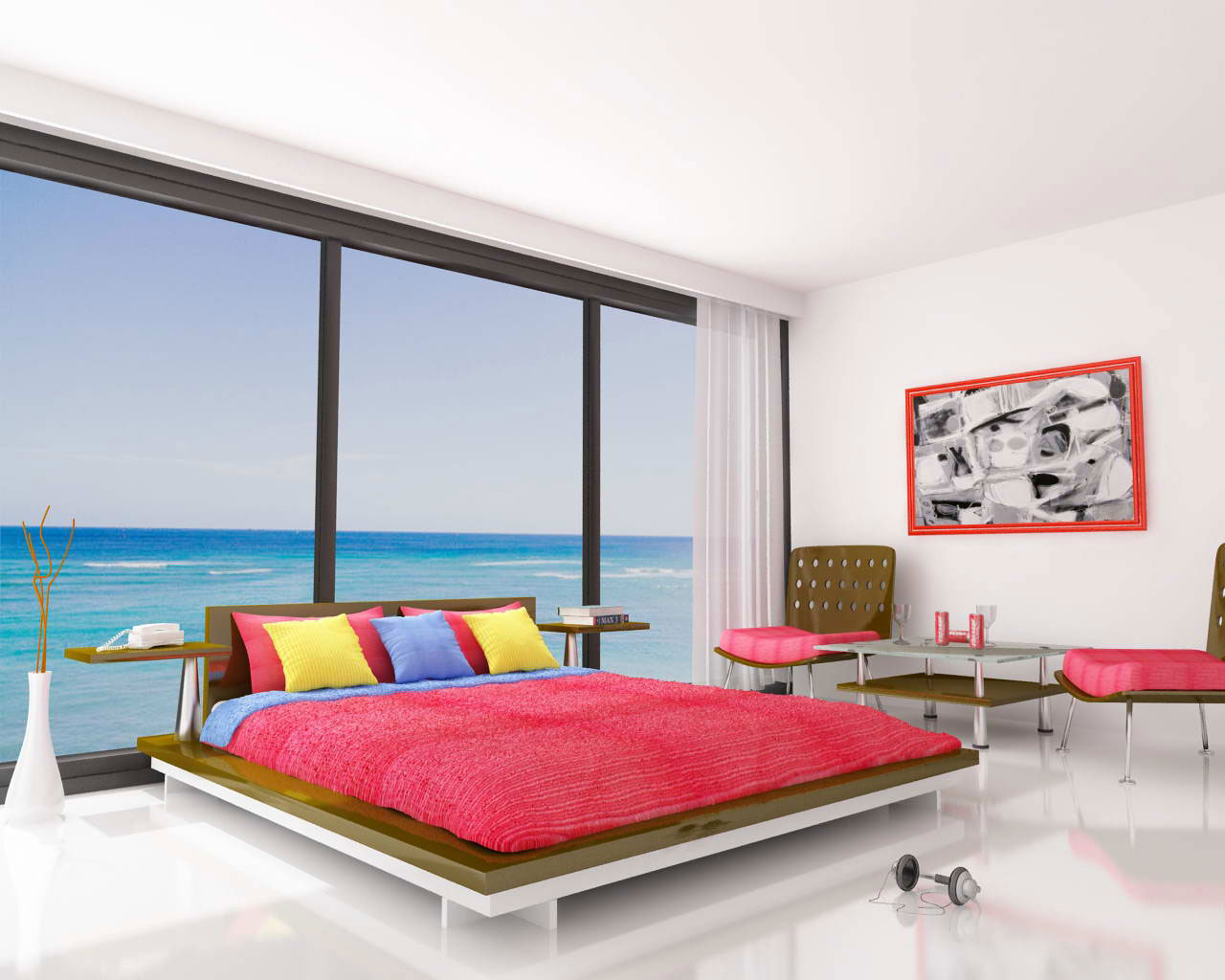 Enjoyable Colorful Bedroom For Unique Room Coloring: New Exclusive Bedroom Design Big Glass Window