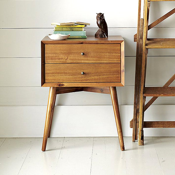 Vintage Bedroom Review As Furniture For 1950`s: New Wooden Nightstand With Mid Century Modern Style Decorated With False Owl