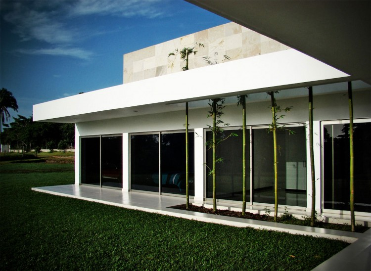 Wonderful Contemporary House Design In Single Story House : Nice Bamboo Decor In The Terrace At Casa Ponce Modern House