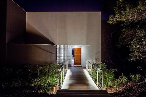 Stunning Inspirations For Home Renovation From Portola Valley House: Night View Of The Walkway ~ stevenwardhair.com Tips & Ideas Inspiration