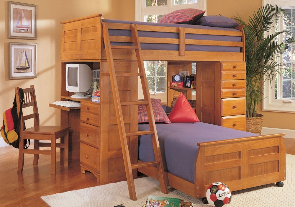 Colorful Loft Beds With Desk As An Enhancing Part Of A Small Room : Ontario Loft Bed For 2 Kids Design Ideas