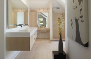 Floating Cabinet And Vanity Set For Every Home : Open Bath Plan With Sensuous Cream And White Floating Sink And Cabinet
