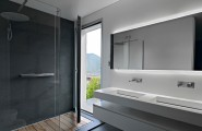 Victor Vasilev Simple And Minimalist White Residence Interior Design : Opened Door Next To Shower Area With Glass Wall