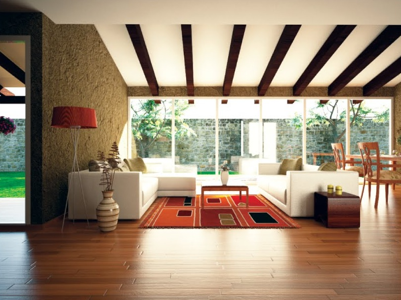 Exclusive Stunning White Living Rooms Ideas: Orange Accent Living Room Ceiling Beams