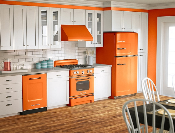 Beautiful Colorful Kitchen Made Stunningly And Elegantly: Orange And White Is A Popular Color Scheme For Retro Designs