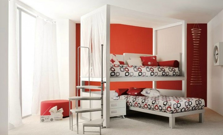 Twin Beds For Kids Comes With The Interesting Design: Orange Red Boys Twin Bedding Sets For Kids With Orange And White Wall