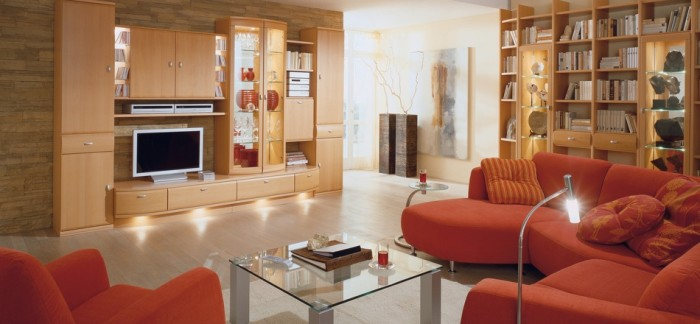 Modern Living Rooms For Minimalist Interior Design: Orange Sofa Modern Living Rooms Sleek Wood Bookcase Cabinetry