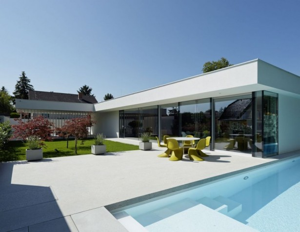 Contemporary Home Design: The A&B House In Austria: Outdoor Dining Area And Pool ~ stevenwardhair.com Contemporary Home Design Inspiration