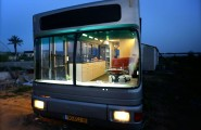 Modern Indoor Made Uniquely In A Bus Interior Space : Outside View Of The Mobile Home After Makeover Bus Living Area