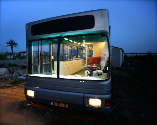 Modern Indoor Made Uniquely In A Bus Interior Space: Outside View Of The Mobile Home After Makeover Bus Living Area ~ stevenwardhair.com Interior Design Inspiration