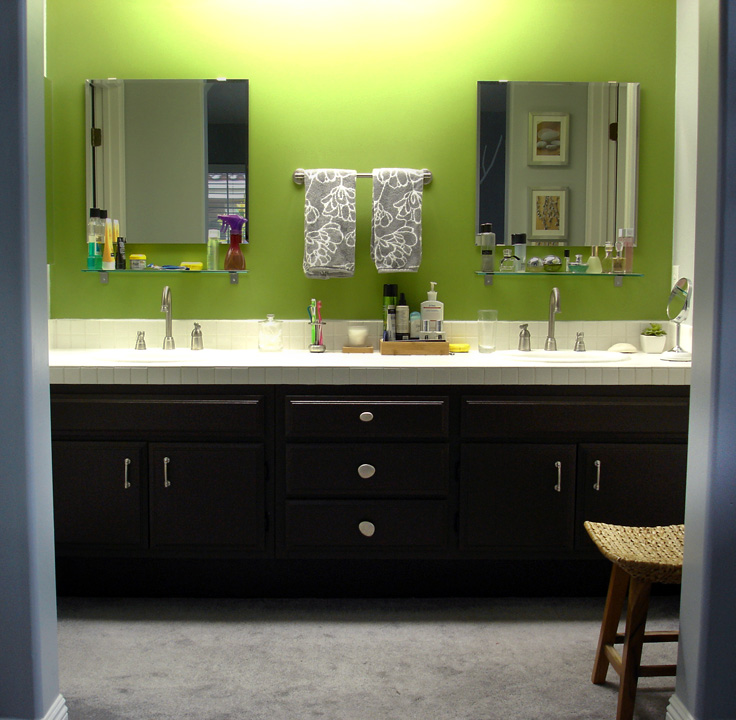 Bathroom Cabinet Ideas Creative Designs: Painted Brown Bathroom Cabinets With Green Wall