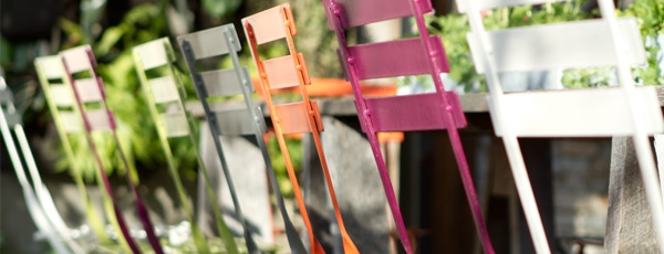 Designing Outdoor Space To Be A Place To Relax: Painted Metal Bistro Chairs