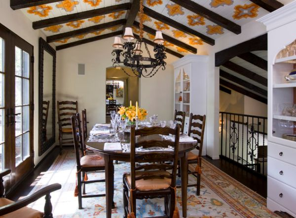 Fascinating Ceiling Design Take Home Decor To Next Level : Painted Tile Ceiling For The Daft Little Dining Room