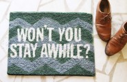 Amazing DIY Welcome Mats: Saying Hi Warmly : Painted Welcome Mat With White Words