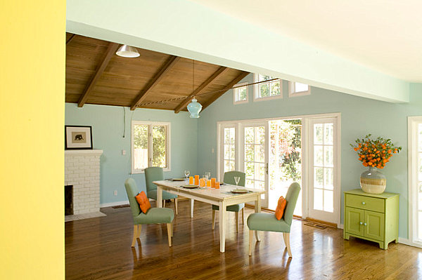Artistic Pastel Color Palette Decoration: Pastel Dining Room With Bright Accents