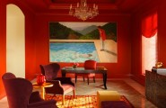 Modern Red Interior Decoration Bringing Excellent Decor : Peaceful Living Room Decor With Wallpainting And Red Painted Wall