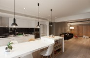Fantastic Homey Contemporary Apartment Drive You Endure Staying There : Pendants Add Visual Contrast To The Kitchen