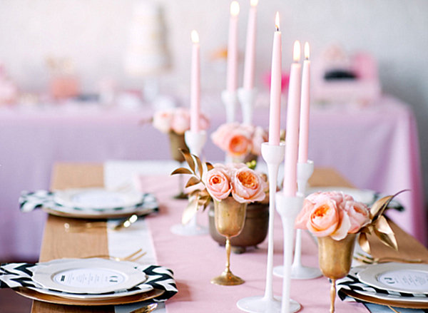 Comfortable Wedding Table With Soft Touch: Pink Gold And Chevron Wedding Table