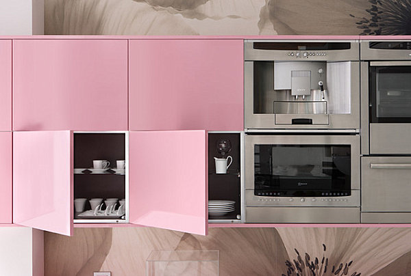 Lacquered Furniture For Gorgeous Interior Performance: Pink Lacquered Cabinets