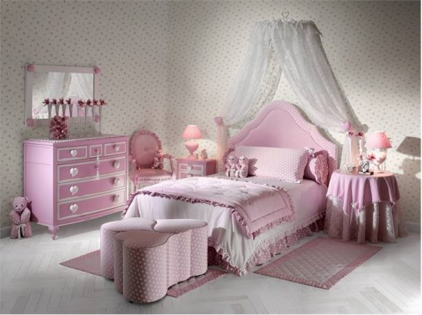 Lively Bedroom Ideas For Young Women That Will Refresh Your Mind: Pink White Soft Heart Theme Girl Bedroom Designs ~ stevenwardhair.com Bedroom Design Inspiration