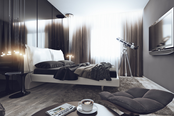 Sleek Studio Room Ideas You Need To Know: Plush Bedroom In The Stylish Bachelor Pad ~ stevenwardhair.com Tips & Ideas Inspiration
