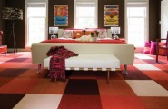 Various Fascinating Bedroom Benches: 35 Design Ideas : Pop Inspired Colorful Bedroom With A Mid Century Modern Style Bench