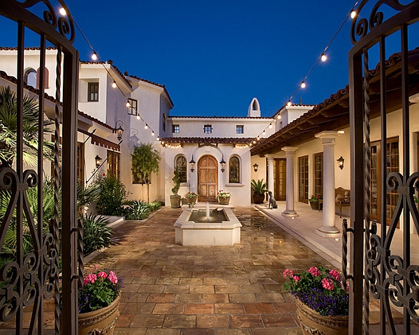 Sparkling String Light To Be Attractive Special Home Decorations: Powerful Mediterranean Style Patio Uses The String Lights In An Understated Fashion Design