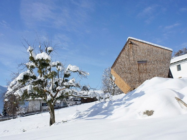Cozy Mountain Cabin Designed In Tiny Shape At East Tyrol: Powerful Snow Covered Slopes Surround The Austrian Holiday Home Exterior Design ~ stevenwardhair.com Contemporary Home Design Inspiration