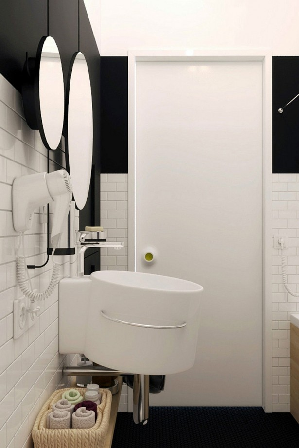Compact Small Apartment In Black And White Decoration: Powerful Wall Mouted Sink For A Small Bathroom In Minimalist Black And White Interior ~ stevenwardhair.com Apartments Inspiration