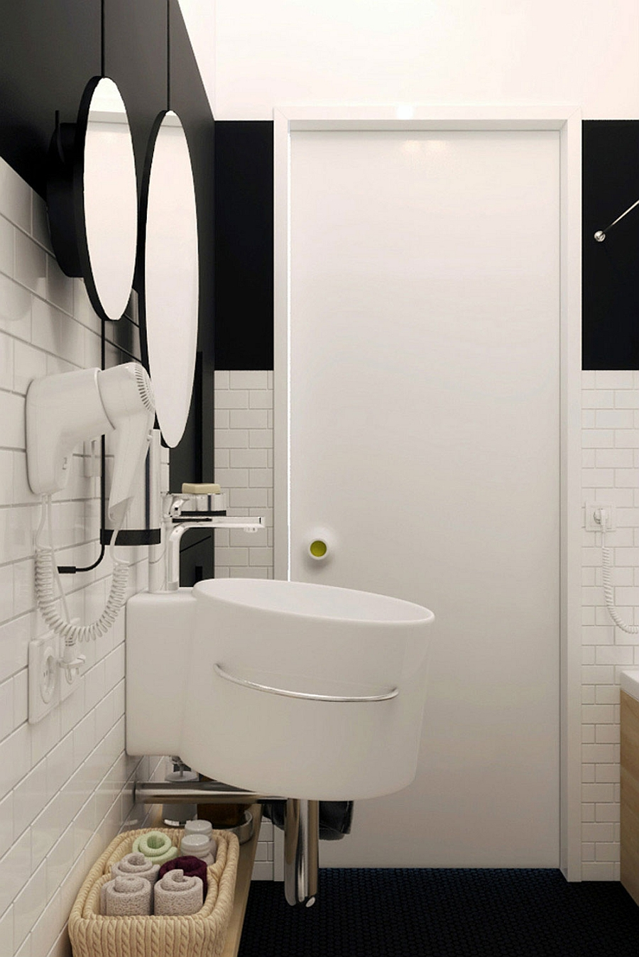 Compact Small Apartment In Black And White Decoration : Powerful Wall Mouted Sink For A Small Bathroom In Minimalist Black And White Interior