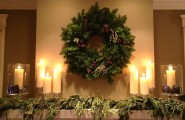 Cool Christmas Mantels Design With Colorful Ribbon And Glossy Ornament : Precious Wreath Shiny Candle Lights Christmas Mantels Design