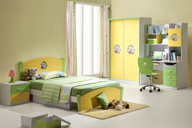 Colorful Kids Bedroom Ideas In Small Design: Pretty Yellow Green Bedroom Interior Funny Kids Bedroom Ideas ~ stevenwardhair.com Kids Room Inspiration