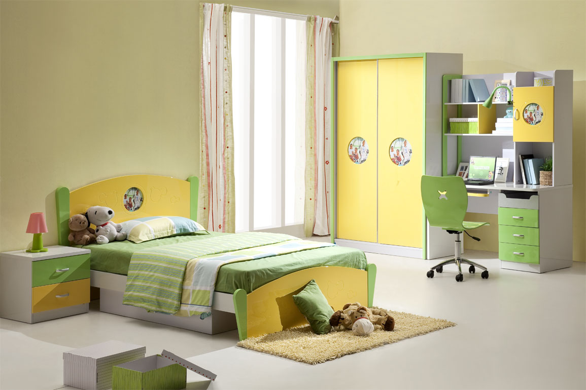 Kids Room Pretty Yellow Green Bedroom Interior Funny Kids Bedroom