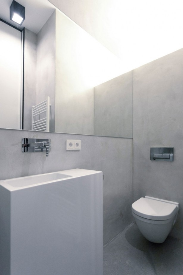 Monochrome Modern Apartment With Round Edge: Private Nic Nlab Home Master Bathroom Idea Illuminated By Corner Lighting Above The Frameless Mirror For Toilet ~ stevenwardhair.com Apartments Inspiration