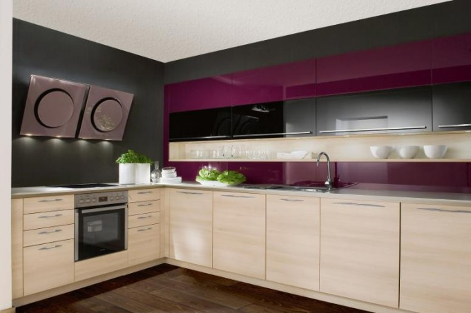 Purple Kitchen For Sensational Design Ideas: Purple Gray Kitchen Natural Wood Cabinets