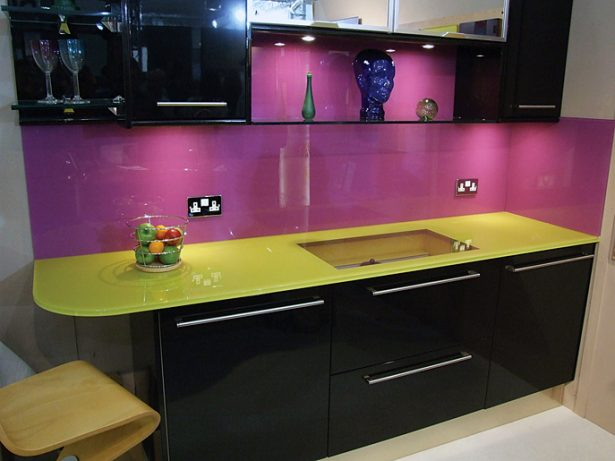 Purple Kitchen For Sensational Design Ideas: Purple Kitchen Glass Backsplash Yellow Countertops ~ stevenwardhair.com Kitchen Designs Inspiration