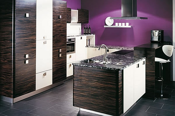 Purple Kitchen For Sensational Design Ideas: Purple Kitchen With Brazilian Zebra Wood