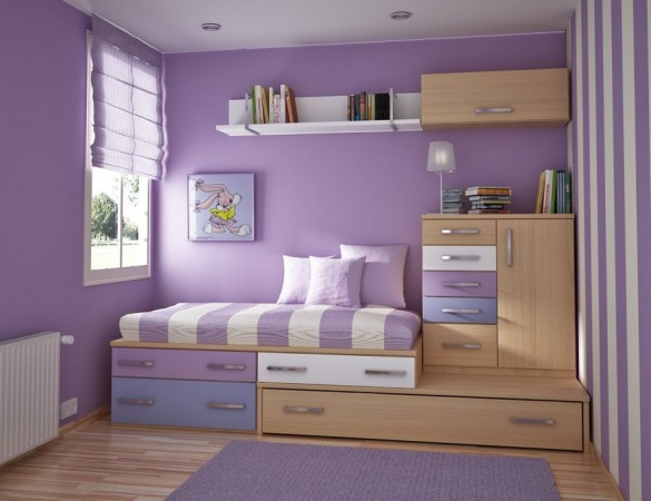 Make Large Your Room With Fresh Paint Colors For Small Bedrooms: Purple Paint Colors For Small Bedrooms And Wood Furniture